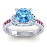 Halo Cushion Aksika Swiss Blue Topaz Ring with Aquamarine and Ruby in 18k White Gold