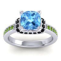 Halo Cushion Aksika Swiss Blue Topaz Ring with Black Onyx and Peridot in Palladium