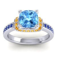 Halo Cushion Aksika Swiss Blue Topaz Ring with Citrine and Blue Sapphire in Palladium