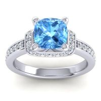 Halo Cushion Aksika Swiss Blue Topaz Ring with Diamond in Palladium