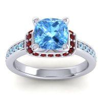 Halo Cushion Aksika Swiss Blue Topaz Ring with Garnet and Aquamarine in Platinum