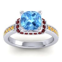 Halo Cushion Aksika Swiss Blue Topaz Ring with Garnet and Citrine in 14k White Gold