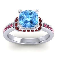 Halo Cushion Aksika Swiss Blue Topaz Ring with Garnet and Ruby in 14k White Gold
