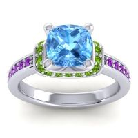 Halo Cushion Aksika Swiss Blue Topaz Ring with Peridot and Amethyst in 18k White Gold