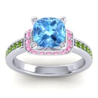 Halo Cushion Aksika Swiss Blue Topaz Ring with Pink Tourmaline and Peridot in 18k White Gold