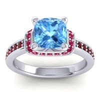 Halo Cushion Aksika Swiss Blue Topaz Ring with Ruby and Garnet in Platinum