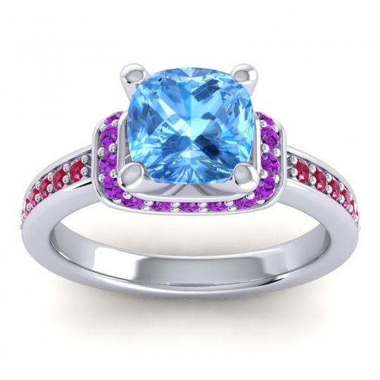 Halo Cushion Aksika Swiss Blue Topaz Ring with Amethyst and Ruby in 14k White Gold