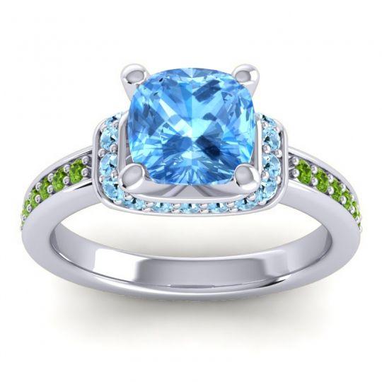 Halo Cushion Aksika Swiss Blue Topaz Ring with Aquamarine and Peridot in Platinum
