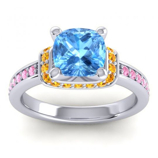 Halo Cushion Aksika Swiss Blue Topaz Ring with Citrine and Pink Tourmaline in 14k White Gold