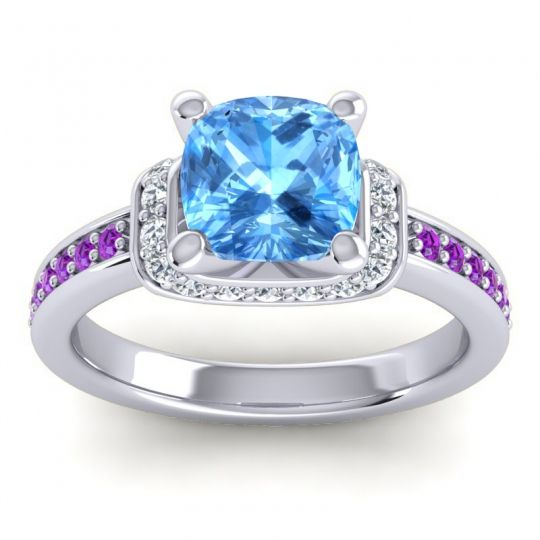 Halo Cushion Aksika Swiss Blue Topaz Ring with Diamond and Amethyst in Palladium