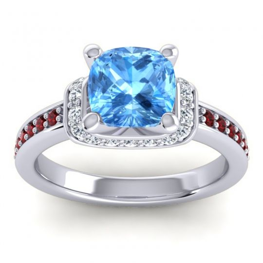 Halo Cushion Aksika Swiss Blue Topaz Ring with Diamond and Garnet in 18k White Gold