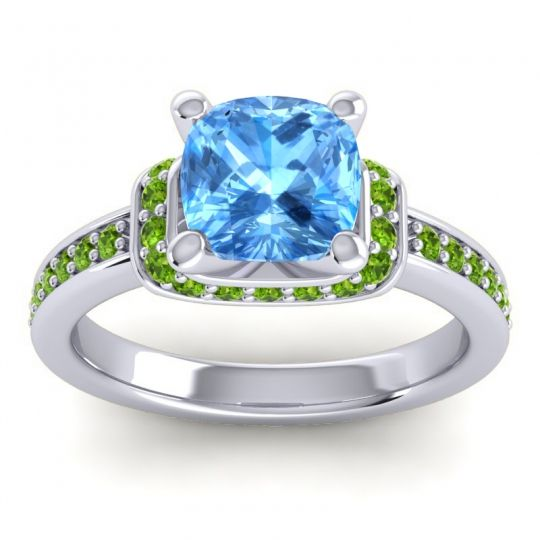 Halo Cushion Aksika Swiss Blue Topaz Ring with Peridot in 14k White Gold
