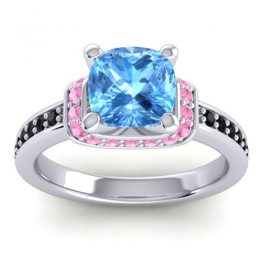 Halo Cushion Aksika Swiss Blue Topaz Ring with Pink Tourmaline and Black Onyx in Platinum