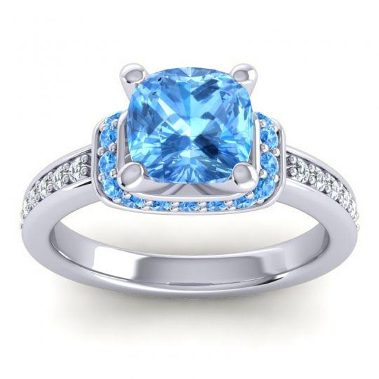 Halo Cushion Aksika Swiss Blue Topaz Ring with Diamond in 14k White Gold