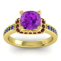 Halo Cushion Aksika Amethyst Ring with Garnet and Blue Sapphire in 18k Yellow Gold