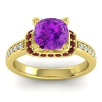 Halo Cushion Aksika Amethyst Ring with Garnet and Diamond in 14k Yellow Gold