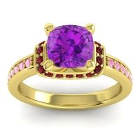Halo Cushion Aksika Amethyst Ring with Garnet and Pink Tourmaline in 14k Yellow Gold
