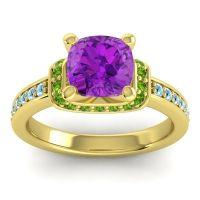 Halo Cushion Aksika Amethyst Ring with Peridot and Aquamarine in 14k Yellow Gold