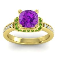 Halo Cushion Aksika Amethyst Ring with Peridot and Diamond in 18k Yellow Gold