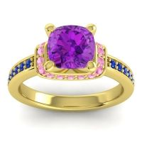 Halo Cushion Aksika Amethyst Ring with Pink Tourmaline and Blue Sapphire in 14k Yellow Gold