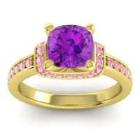 Halo Cushion Aksika Amethyst Ring with Pink Tourmaline in 18k Yellow Gold