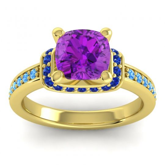 Halo Cushion Aksika Amethyst Ring with Blue Sapphire and Swiss Blue Topaz in 18k Yellow Gold