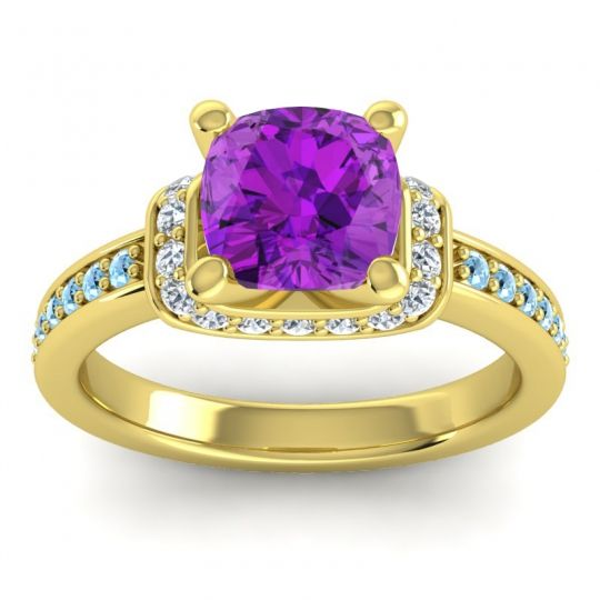 Halo Cushion Aksika Amethyst Ring with Diamond and Aquamarine in 14k Yellow Gold