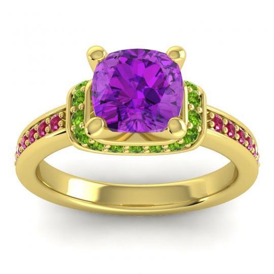 Halo Cushion Aksika Amethyst Ring with Peridot and Ruby in 14k Yellow Gold