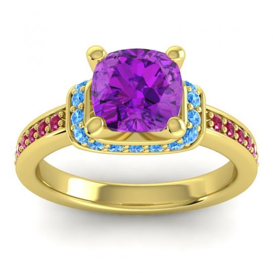 Halo Cushion Aksika Amethyst Ring with Swiss Blue Topaz and Ruby in 18k Yellow Gold