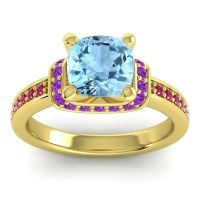 Halo Cushion Aksika Aquamarine Ring with Amethyst and Ruby in 18k Yellow Gold