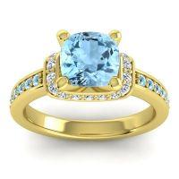 Halo Cushion Aksika Aquamarine Ring with Diamond in 18k Yellow Gold