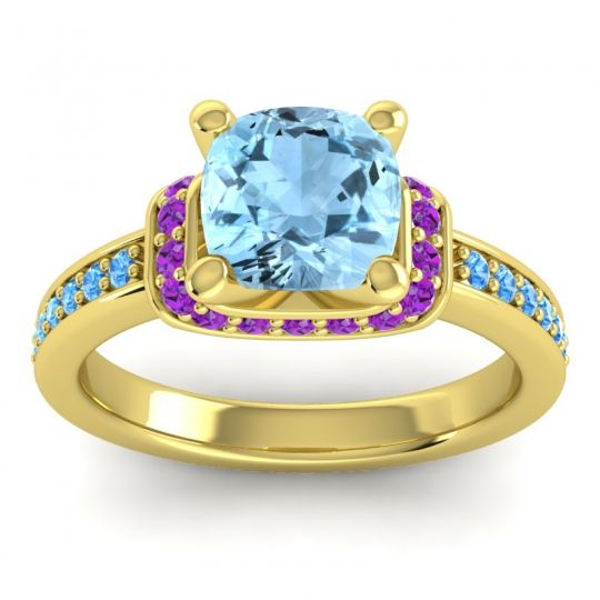Halo Cushion Aksika Aquamarine Ring with Amethyst and Swiss Blue Topaz in 14k Yellow Gold