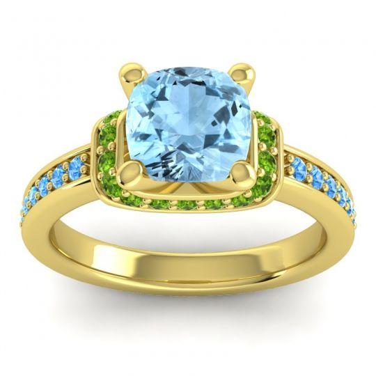 Halo Cushion Aksika Aquamarine Ring with Peridot and Swiss Blue Topaz in 18k Yellow Gold