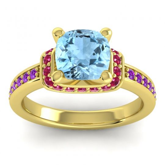 Halo Cushion Aksika Aquamarine Ring with Ruby and Amethyst in 18k Yellow Gold