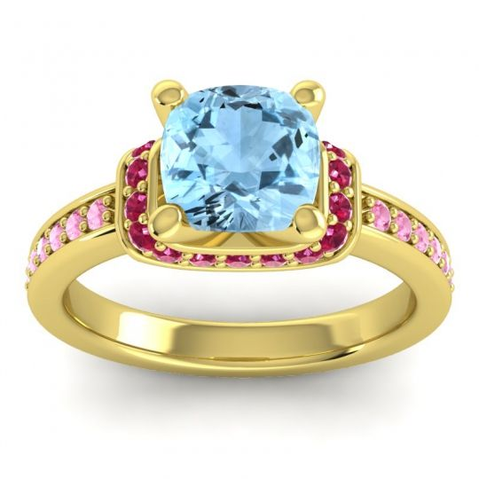 Halo Cushion Aksika Aquamarine Ring with Ruby and Pink Tourmaline in 14k Yellow Gold