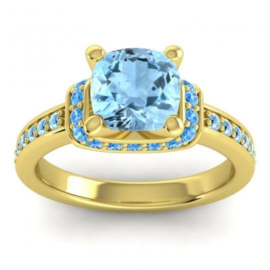 Halo Cushion Aksika Aquamarine Ring with Swiss Blue Topaz in 14k Yellow Gold