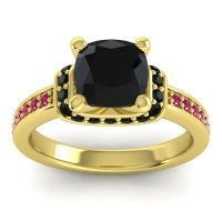 Halo Cushion Aksika Black Onyx Ring with Ruby in 18k Yellow Gold