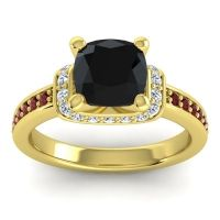 Halo Cushion Aksika Black Onyx Ring with Diamond and Garnet in 18k Yellow Gold