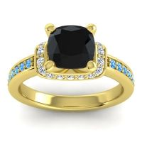 Halo Cushion Aksika Black Onyx Ring with Diamond and Swiss Blue Topaz in 18k Yellow Gold