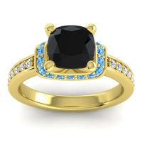 Halo Cushion Aksika Black Onyx Ring with Swiss Blue Topaz and Diamond in 14k Yellow Gold