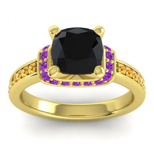 Halo Cushion Aksika Black Onyx Ring with Amethyst and Citrine in 14k Yellow Gold