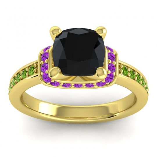 Halo Cushion Aksika Black Onyx Ring with Amethyst and Peridot in 14k Yellow Gold
