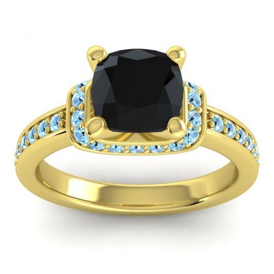 Halo Cushion Aksika Black Onyx Ring with Aquamarine in 14k Yellow Gold