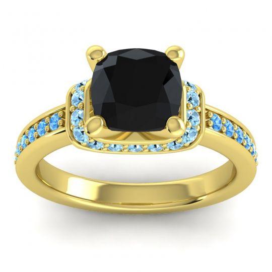 Halo Cushion Aksika Black Onyx Ring with Aquamarine and Swiss Blue Topaz in 14k Yellow Gold