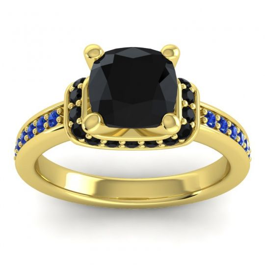 Halo Cushion Aksika Black Onyx Ring with Blue Sapphire in 18k Yellow Gold