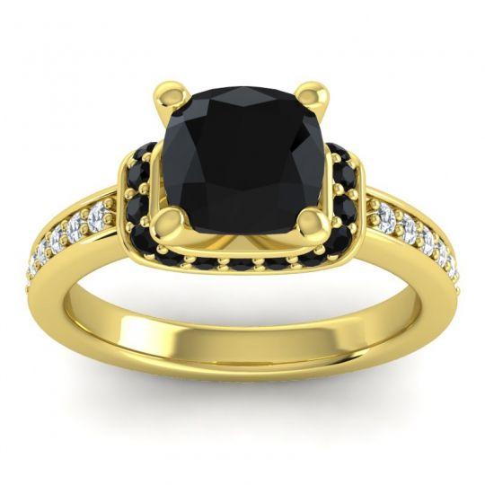 Halo Cushion Aksika Black Onyx Ring with Diamond in 18k Yellow Gold