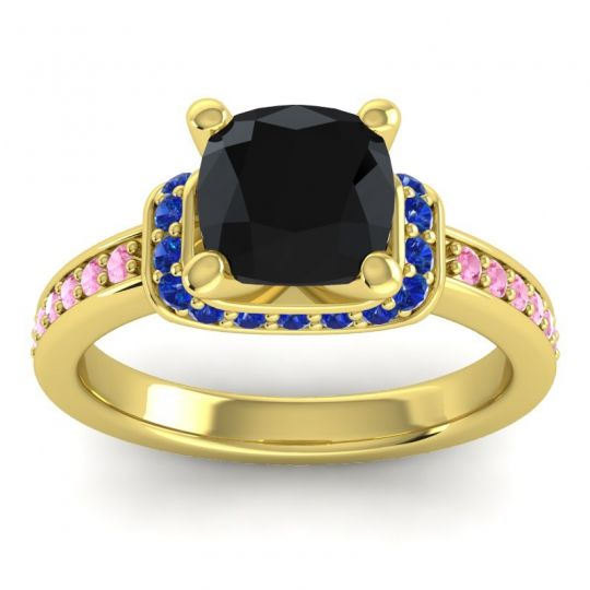 Halo Cushion Aksika Black Onyx Ring with Blue Sapphire and Pink Tourmaline in 18k Yellow Gold