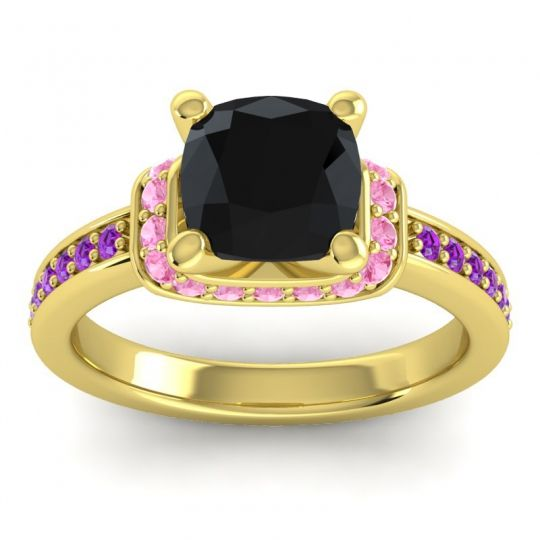 Halo Cushion Aksika Black Onyx Ring with Pink Tourmaline and Amethyst in 18k Yellow Gold
