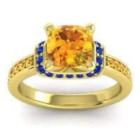 Halo Cushion Aksika Citrine Ring with Blue Sapphire in 14k Yellow Gold