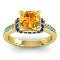 Halo Cushion Aksika Citrine Ring with Blue Sapphire and Swiss Blue Topaz in 14k Yellow Gold
